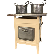 German Marklin dollhouse tin stove with pots