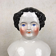 Antique very large china doll head, broken, in need of repair
