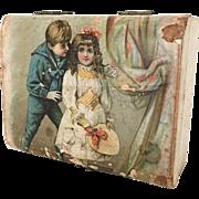 Antique Victorian box, lithographed box, presentation box