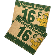 Vintage Uneeda Biscuit advertising counter cards