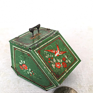 Antique miniature dollhouse fireplace scuttle or kindling box
