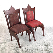 Antique German dark oak doll chairs with silk brocade seats, large scale dollhouse chairs