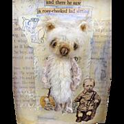 Miniature artist teddy bear, Quiet Companions shadow box collage