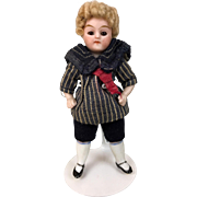Antique miniature German dollhouse all bisque boy with great hair