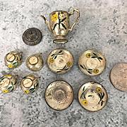 Tin plated dollhouse miniature dish set
