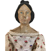 Antique papier mache doll, milliner's model, Apollo Top Knot
