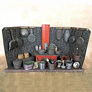 Antique tin German dollhouse kitchen with plentiful batterie de cuisine