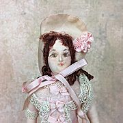 Vintage cloth doll in pink, 1920's France
