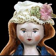 Papier mache artist doll, Miss Lottie Casper by Lora Soling