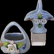 Antique or vintage miniature porcelain baskets, Elfinware -like