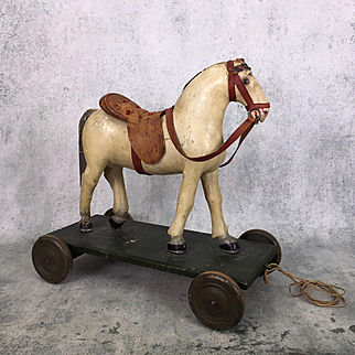 Fabulous antique horse pull toy