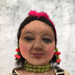 Vintage South American cloth doll with adorable baby