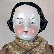 Antique China Head doll by Kister, 26 inches in beautiful dress