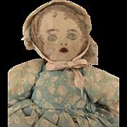 Antique handmade cloth doll, rag doll, fabric doll, folk art doll