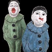 Antique papier mache clowns, papier mache painted clowns, folk art toys