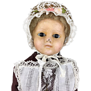 Antique wax-over doll, wax over papier mache doll with mohair wig