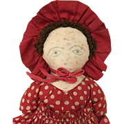 Vintage Handmade cloth folk art doll in wonderful polka dot dress