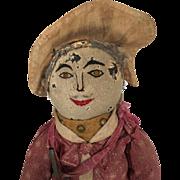 Handmade folk art doll, unusual doll, male cloth doll, rag doll, primitive fabric doll, mystery doll