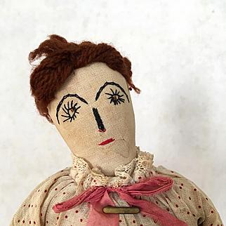 Vintage Handmade Folk Art Doll, cloth doll, rag doll, primitive fabric doll