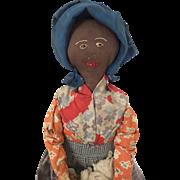 Vintage Handmade Black Doll, cloth doll, rag doll, folk art doll, primitive fabric doll
