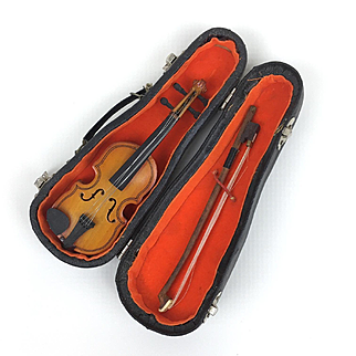Vintage miniature violin in case, doll sized violin, miniature musical instrument, doll accessory