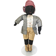 Vintage handmade cloth doll, black doll, rag doll, primitive fabric doll, folk art doll