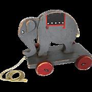 Vintage Primitive Folk Art Elephant Pull-Toy