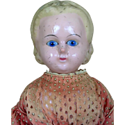 Antique wax-over doll, wax over papier mache doll with Alice hairstyle