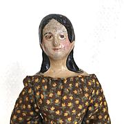 Antique papier mache doll, milliner's model, mid 1800's