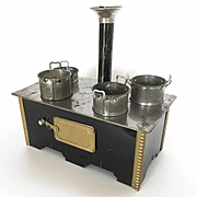 Dollhouse Tin Stove with pots, pans and chimney