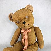 Antique mohair teddy bear, antique large teddy bear, short velveteen gold fur