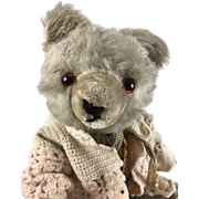 Antique or vintage mohair teddy bear with sweater