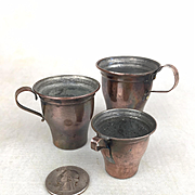 Antique doll sized tin lined copper cups, set of three