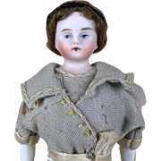 Antique china head doll, dollhouse parian doll, porcelain doll on original body with fancy dress