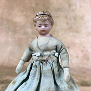 Antique miniature china head doll, dollhouse parian doll, porcelain doll on original body