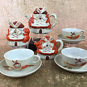 Vintage Doll tea set, Japanese doll tea set, vintage doll dishes in windmill shape