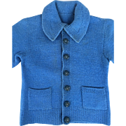Vintage wool doll or child's hand knit blue sweater, suitable for teddy bear