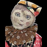 Vintage handmade folk art jester doll,clown doll, cloth doll, rag doll, primitive fabric doll