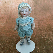 Antique all bisque doll, dollhouse boy doll, miniature doll in blue crocheted romper and hat