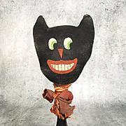 Vintage black cat folk art Halloween primitive make-do
