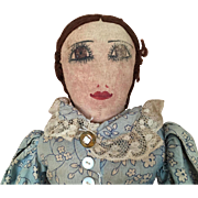 Vintage Handmade Folk Art doll, cloth doll, rag doll, fabric doll, primitive doll