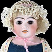 Antique bisque head doll, German bisque head doll on rare blue wool body