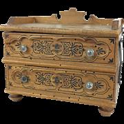 Antique or vintage wooden miniature blanket chest