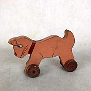 Vintage Primitive wooden cat Pull-Toy, doll toy, folk art toy