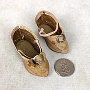 Antique doll shoes, pointed toes, perfect for French fashion