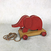 Vintage Red Elephant Pull-Toy, vintage wooden toy, doll accessory