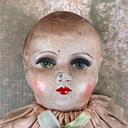 Vintage composition and cloth doll, baby rattle doll, beautiful face