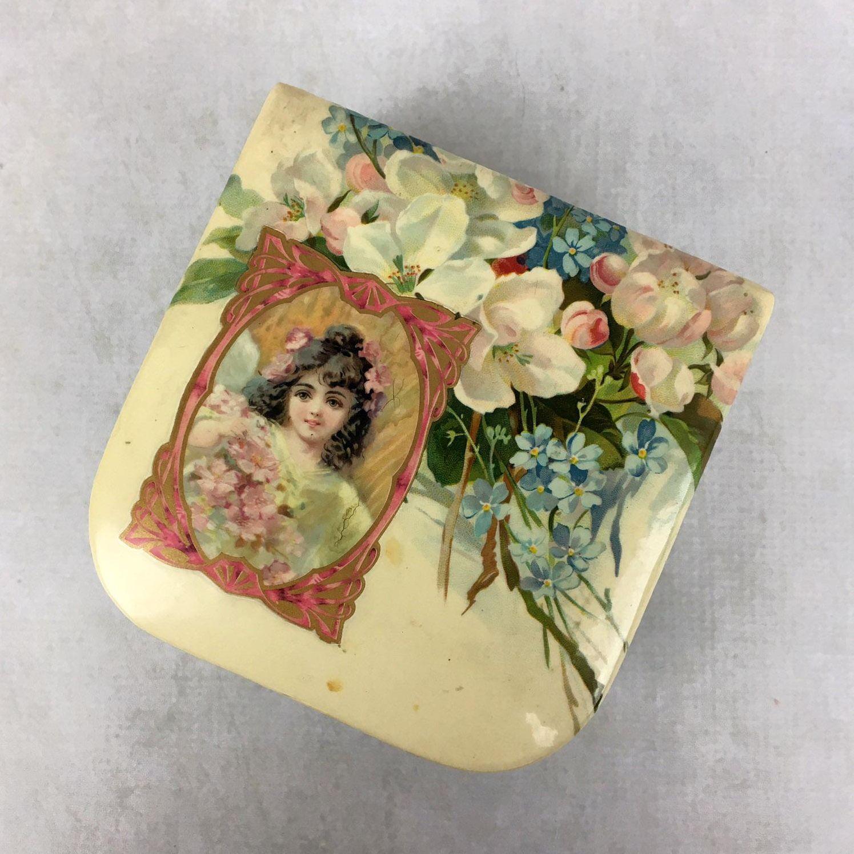 Antique celluloid Victorian handkerchief box