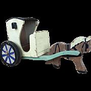 Vintage folk art horse and wagon, primitive toy, wooden folk art
