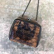 Antique doll purse, miniature leather purse, doll accessory